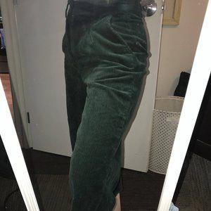 green corduroy wide leg crop pants